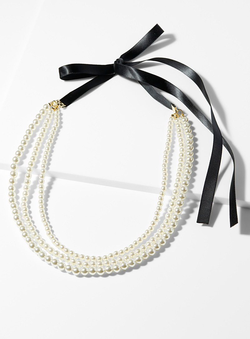 Black ribbon and pearls necklace - Necklaces - Patterned White