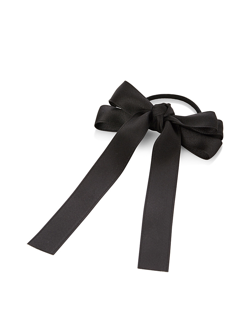 Satiny bow elastic - Elastics - Black