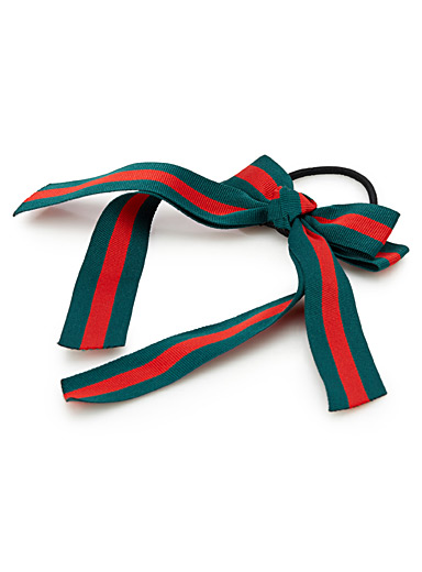 Striped ribbon bow elastic