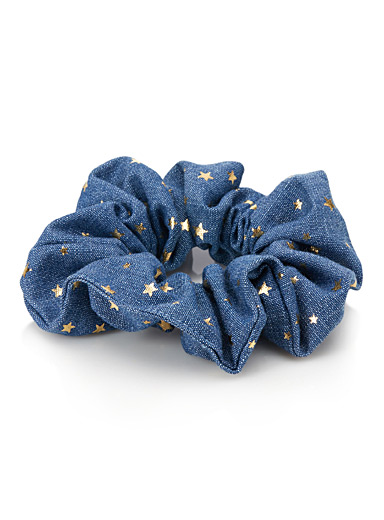 Starry denim scrunchie