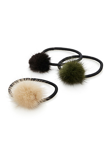 Fur pompom elastics  Set of 3