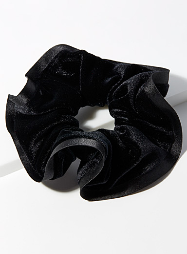 Simons Black Trimmed velvet scrunchie for women