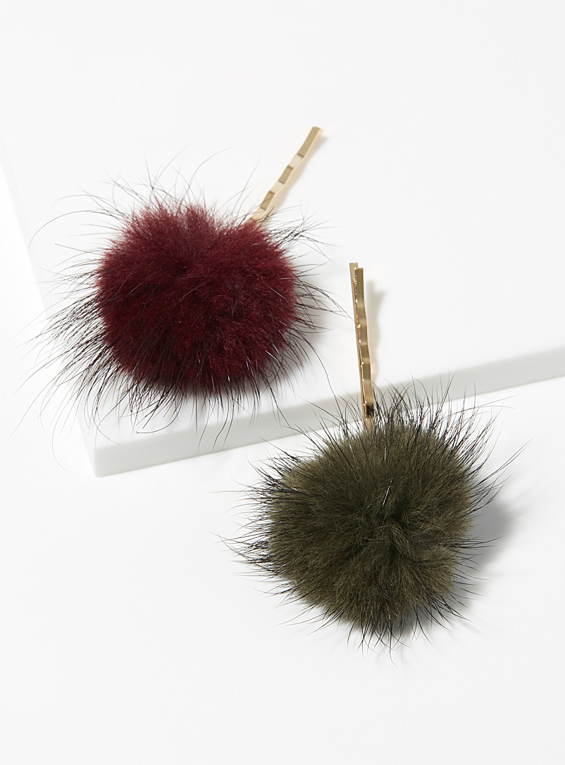 Adorable pompom clips  Set of 2 - Barrettes and Clips - Assorted