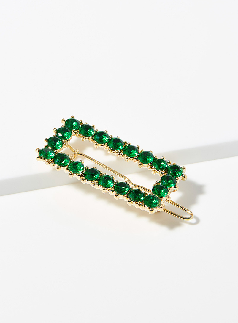 Rectangular crystal barrette - Barrettes and Clips - Green