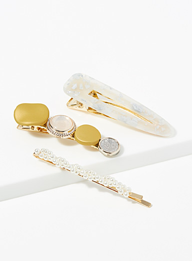Shimmer and pearl clips  Set of 3