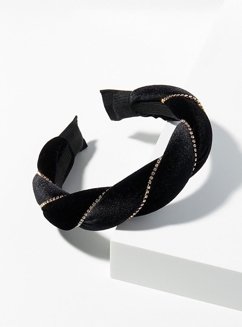 Simons Black Crystal and velvet headband for women