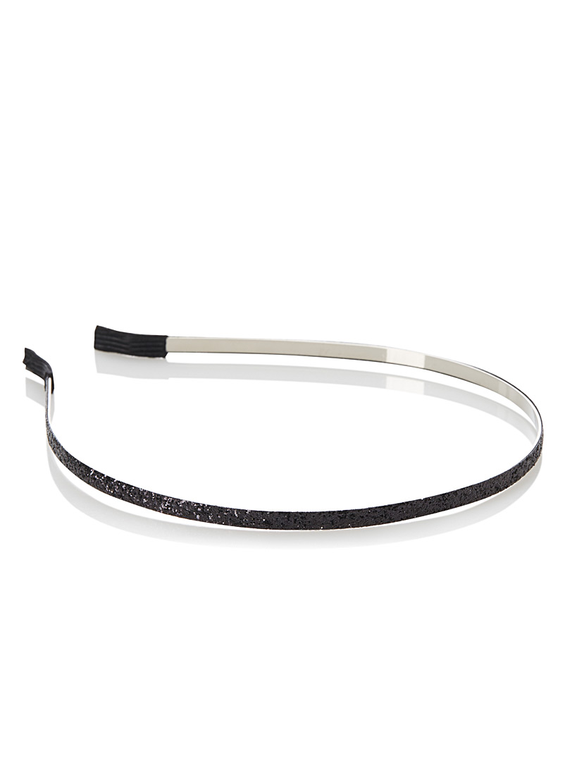 Simons Black Fine sequin headband for women