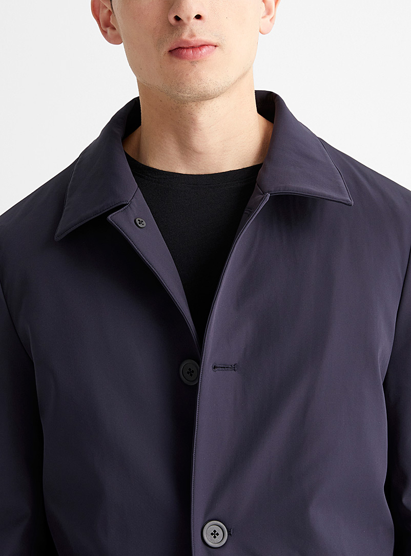 Le 31 Marine Blue Stretch techno trench coat for men