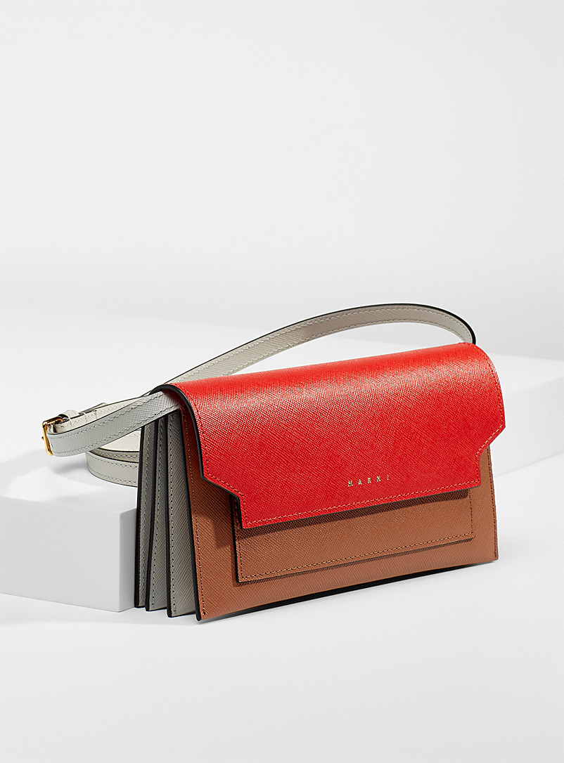 MARNI Patterned Red Colour block clutch for women