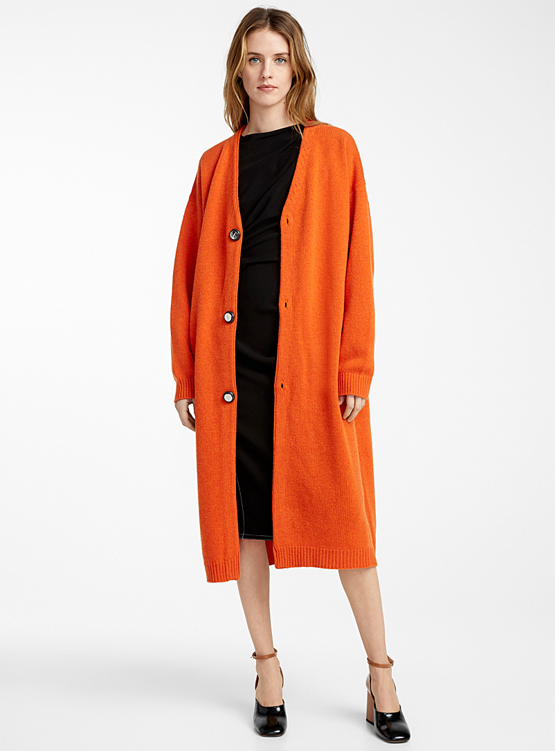 long-orange-cardigan