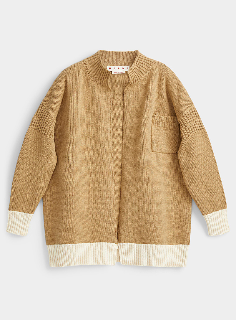 MARNI Honey Colour block oversized cardigan for women