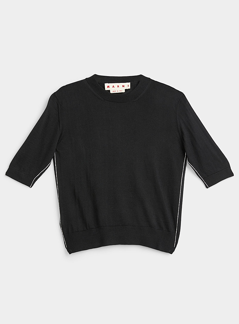 MARNI Black Accent seaming short-sleeve sweater for women