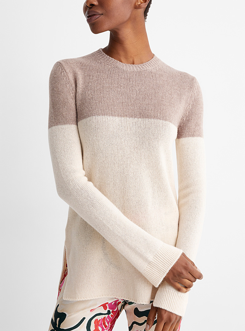 MARNI Patterned Ecru Colour-block cashmere sweater for women