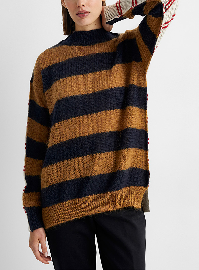 MARNI Patterned Brown Hybrid wool sweater for women