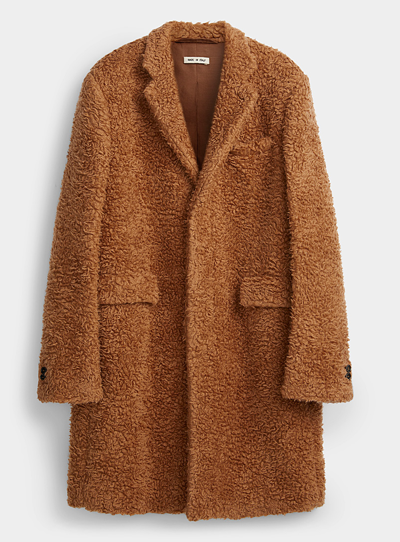 MARNI Brown Caramel bouclé wool coat for men