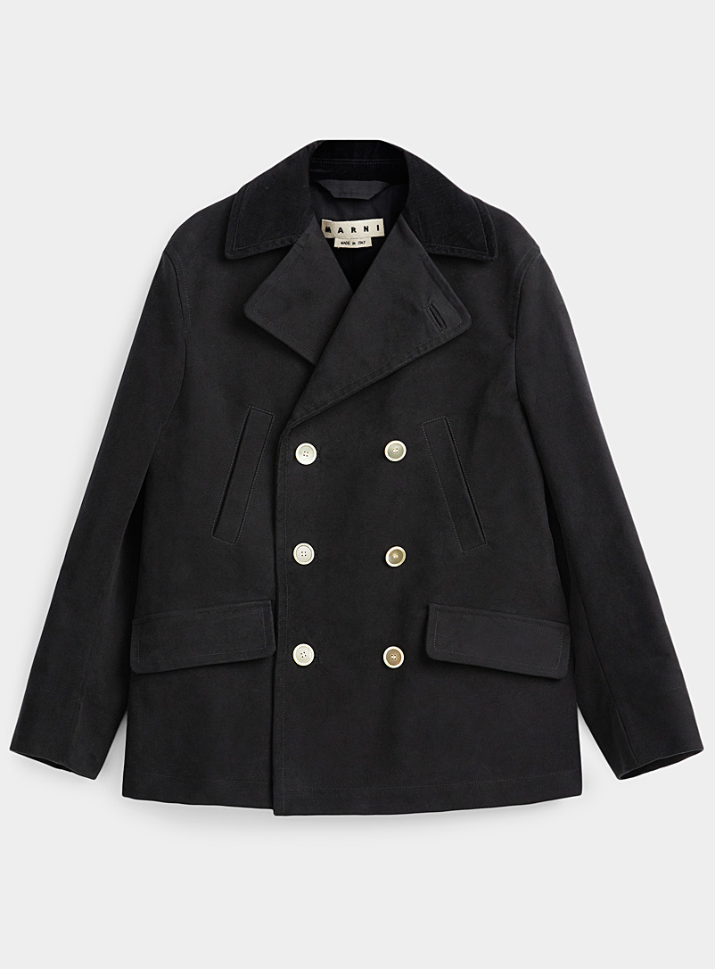 MARNI Black Suede coat for men