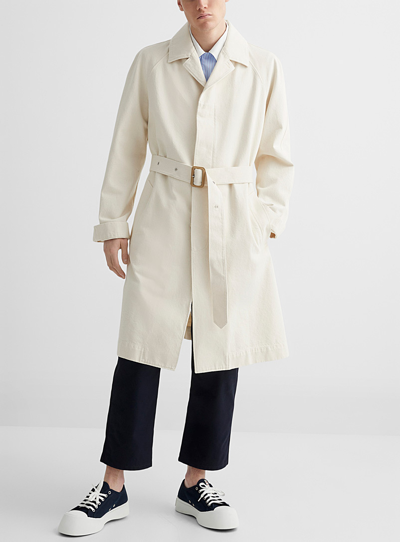 MARNI White Ivory denim trench coat for men