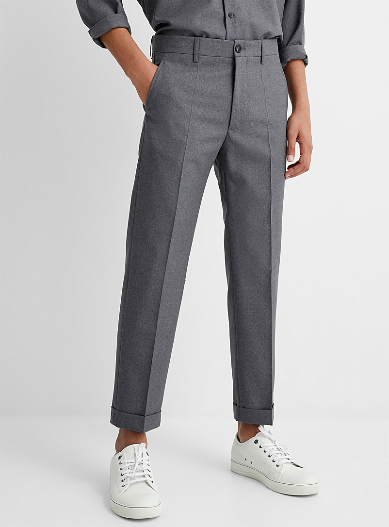 MARNI Grey Virgin wool cuffed pant for men