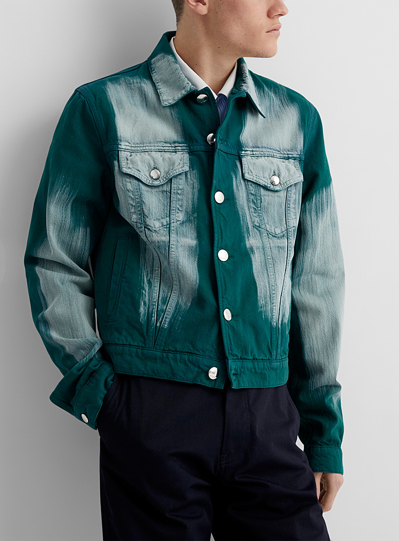 MARNI Green Faded green denim jacket for men