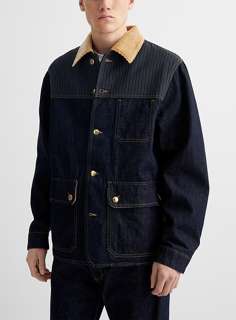 MARNI Marine Blue Corduroy collar denim jacket for men