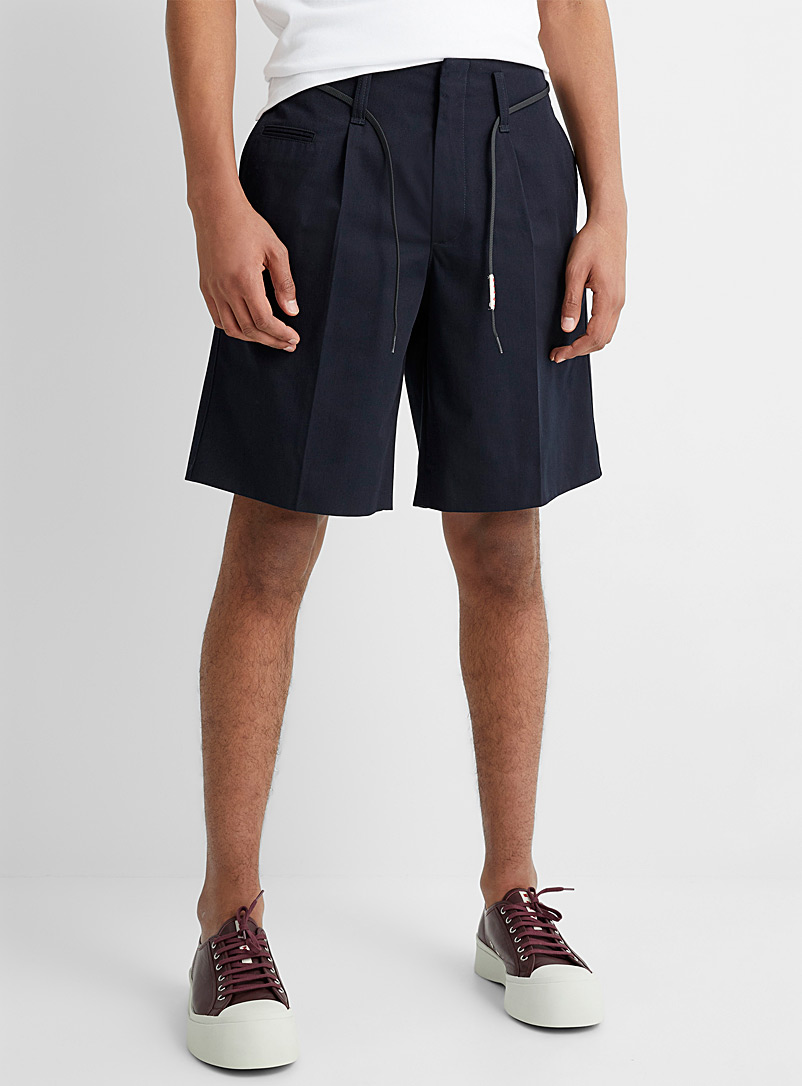 MARNI Marine Blue Lace belt navy Bermudas for men
