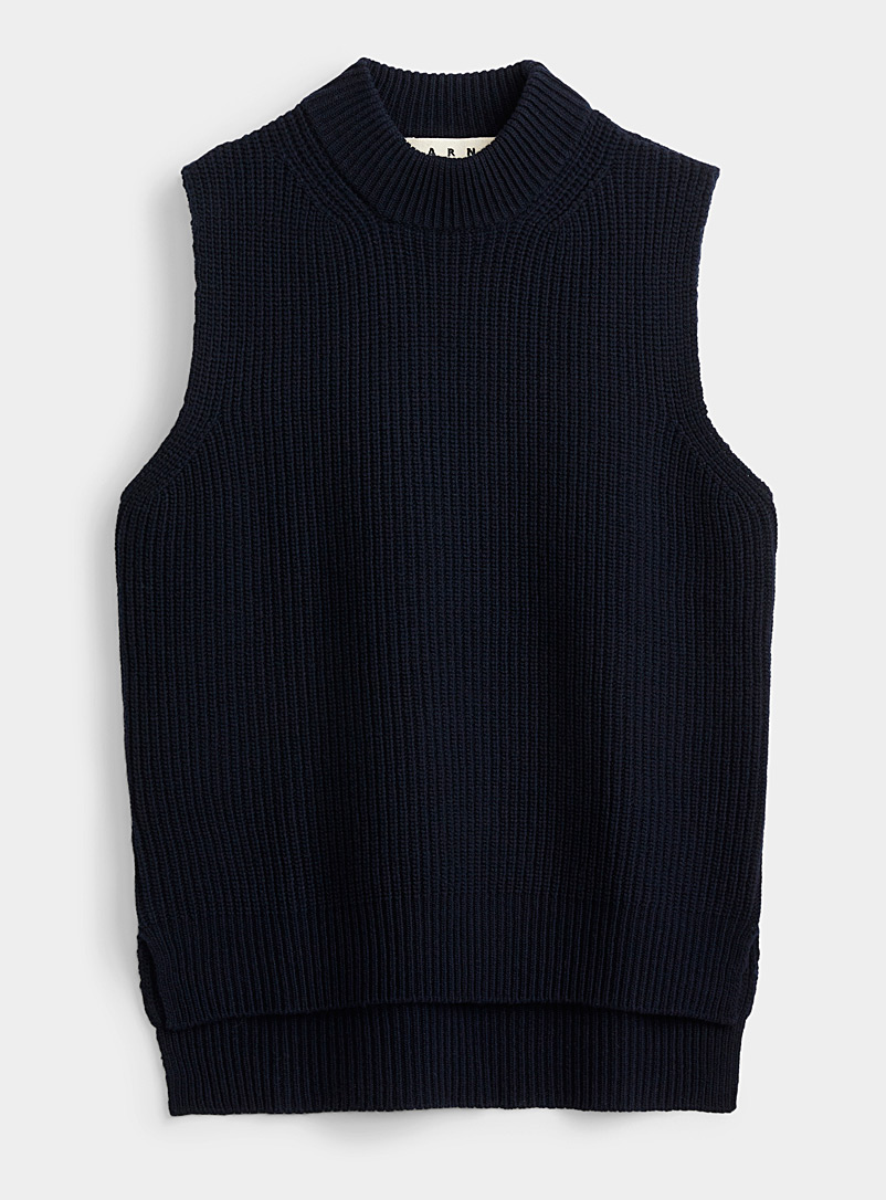 MARNI Marine Blue Navy ribbed tank for men