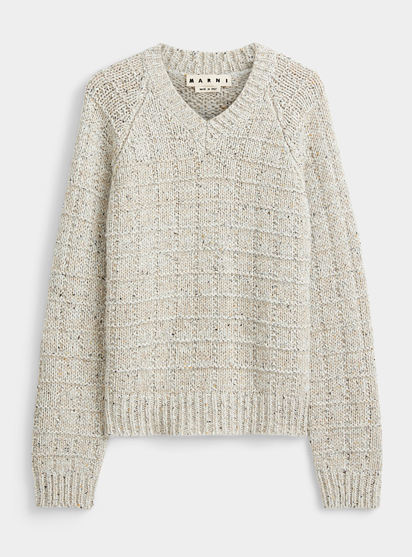 Flecked embossed stripe sweater