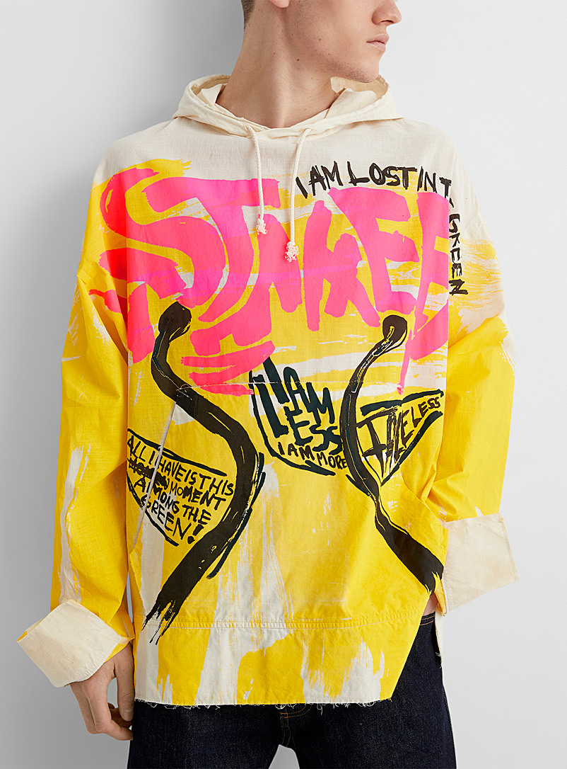 MARNI Golden Yellow Graphic art print cotton voile hoodie for men