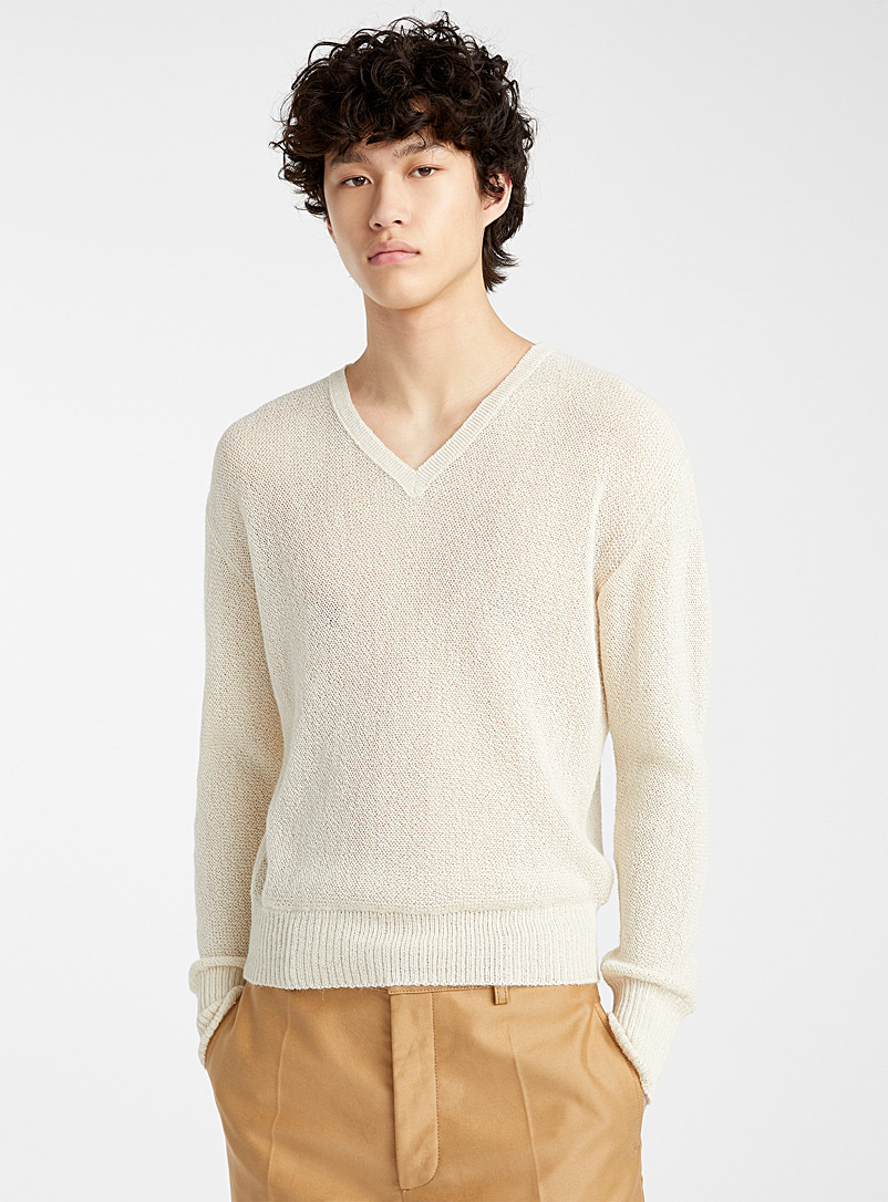 MARNI Ivory White Alpaca sweater for men