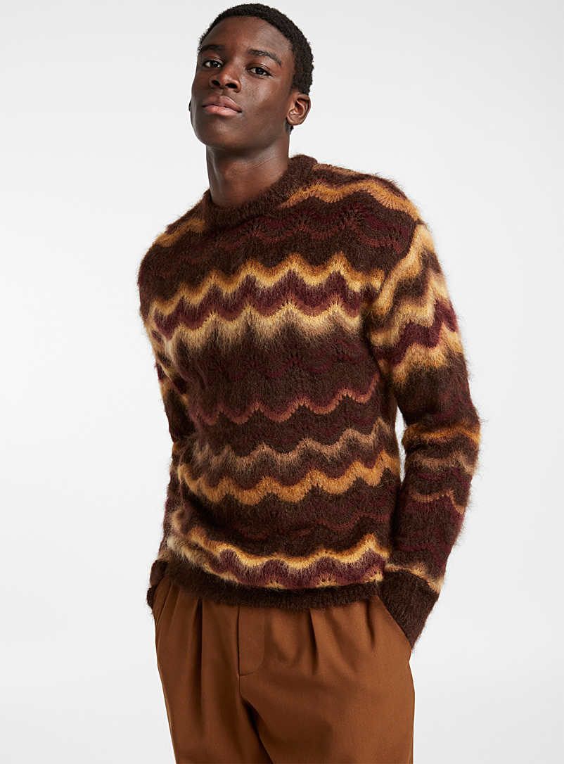 Long pointelle sweater - Marni - Patterned Brown