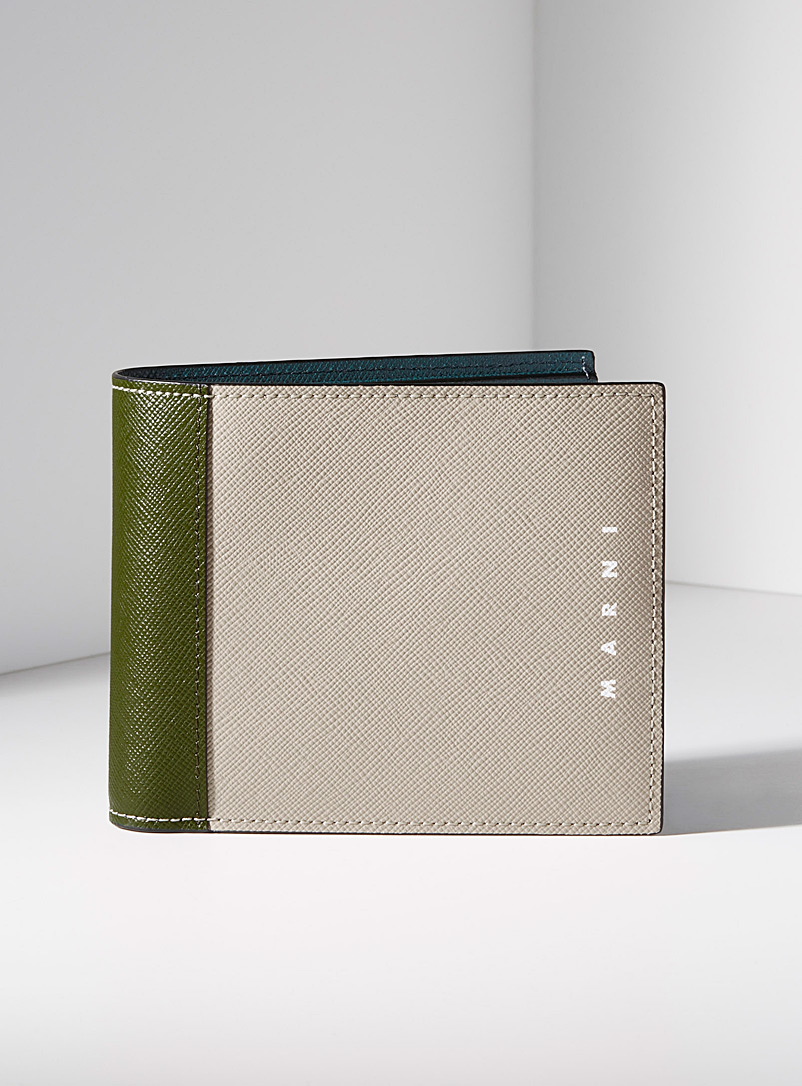MARNI Green Two-tone geo wallet for men
