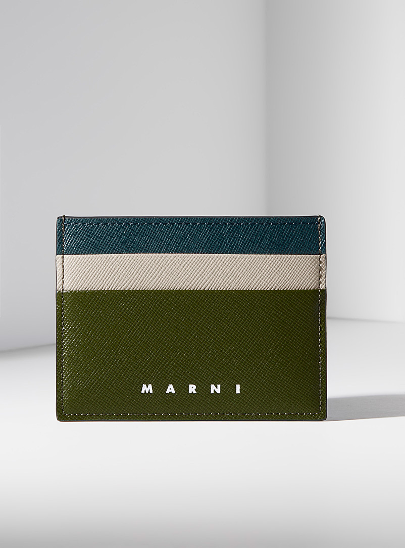 MARNI Green Two-tone geo card holder for men
