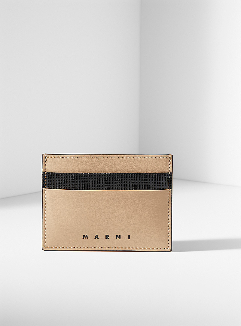 MARNI Cream Beige Textured accent card holder for men
