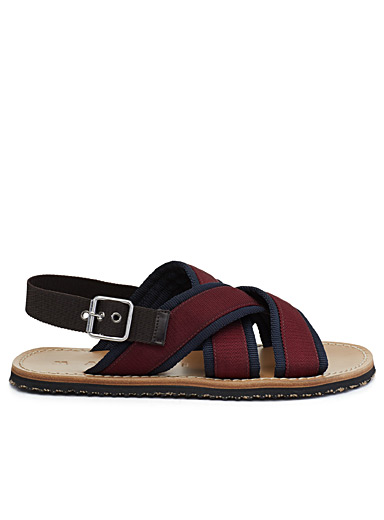 Two-tone woven band sandals  Men