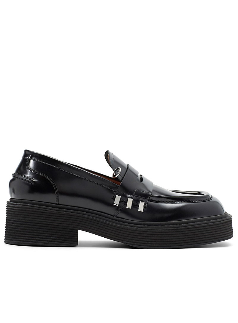 MARNI Black Brass accent loafers for men