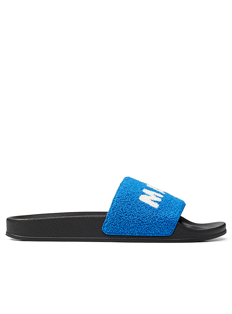 MARNI Blue Terry strap slides Men for men