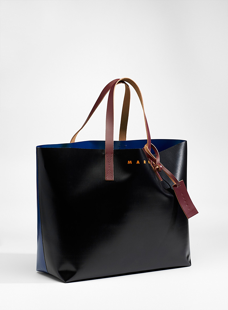 MARNI Black Large colour block tote for men