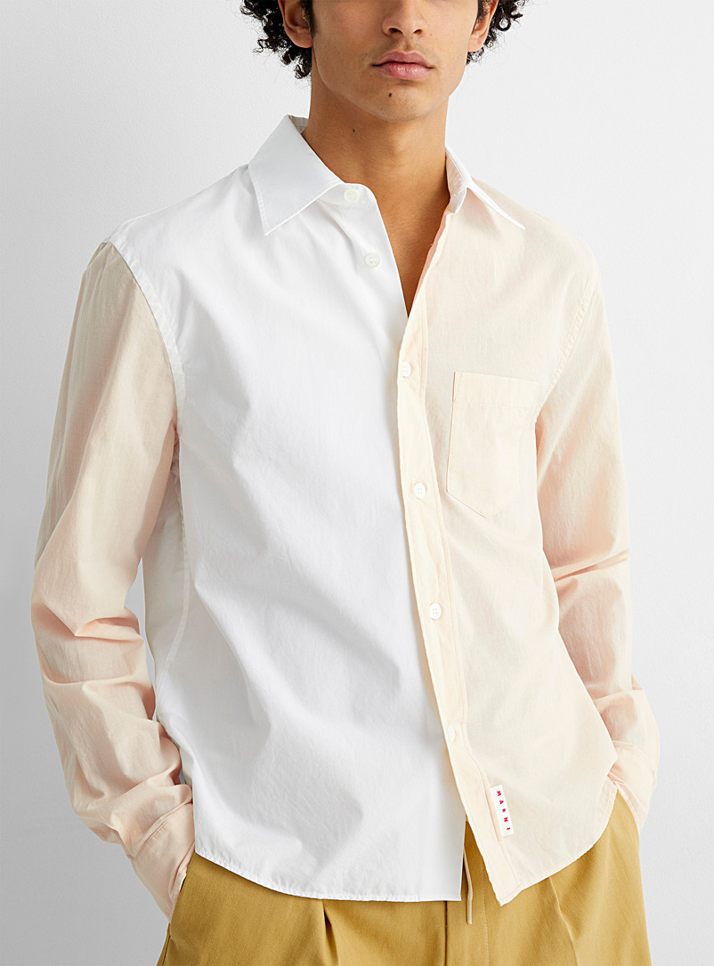 MARNI Cream Beige Two-tone poplin shirt for men