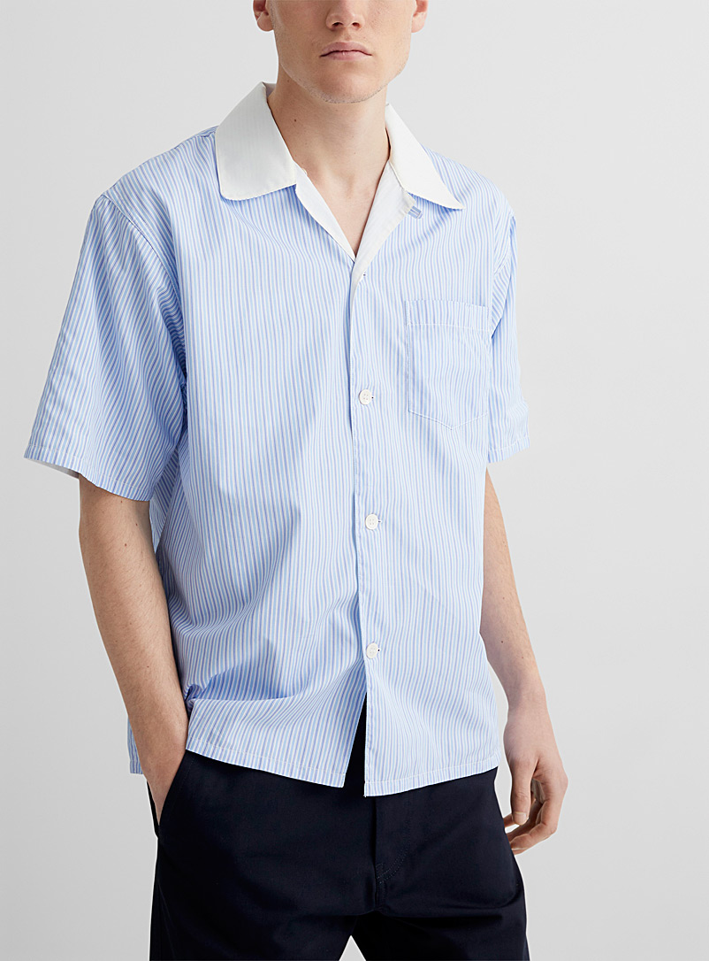 MARNI Patterned Blue Reversible striped shirt for men