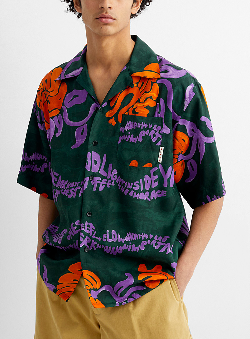 MARNI Green Psychedelic tropical shirt for men