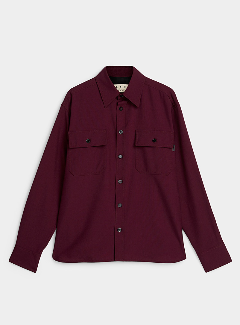 Virgin wool utility shirt