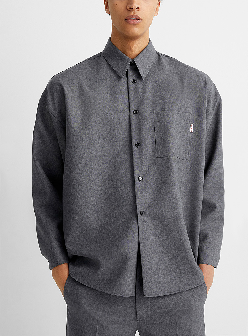 MARNI Grey Graphite grey virgin wool shirt for men