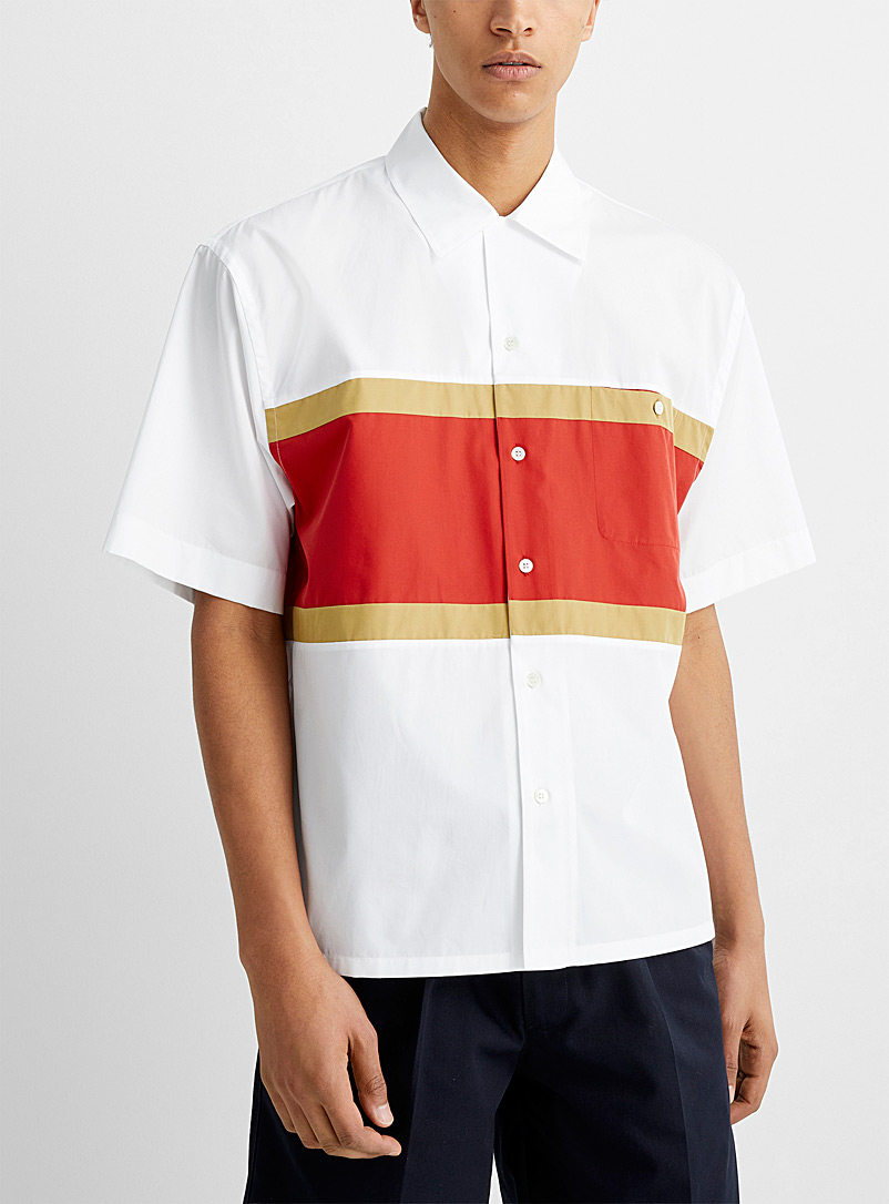 MARNI White Accent block shirt for men