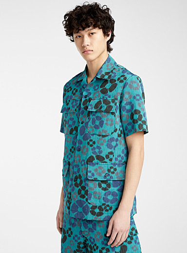 MARNI Marine Blue Camo flower safari shirt for men