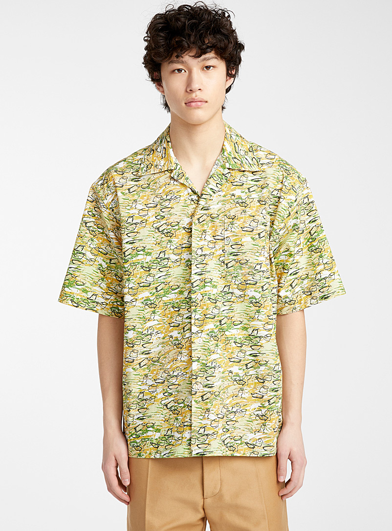 MARNI Ivory White Printed shirt for men