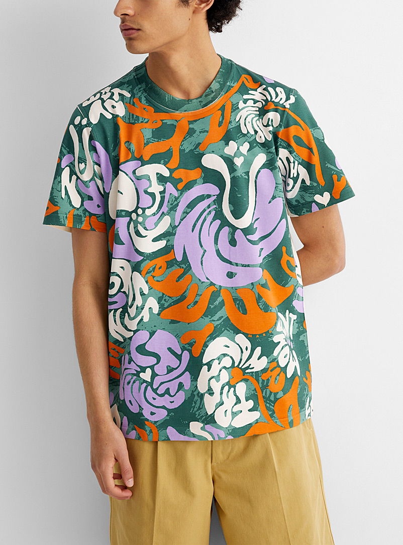 MARNI Green Psychedelic tropical T-shirt for men