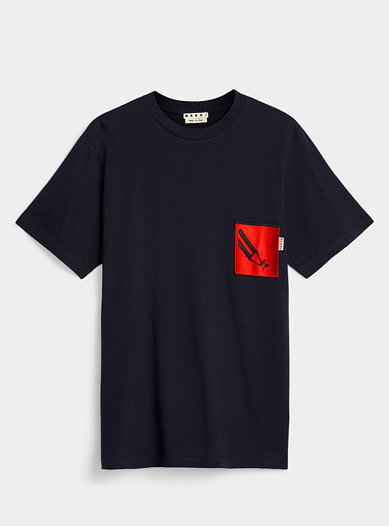 MARNI Marine Blue Emblem T-shirt for men
