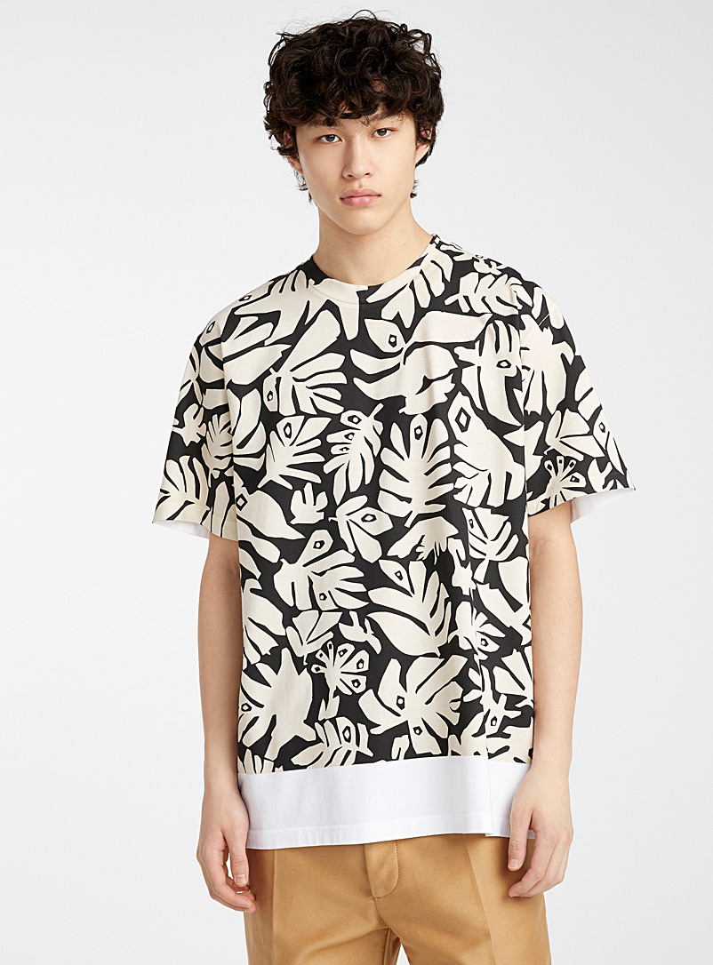 MARNI White Leaves T-shirt for men