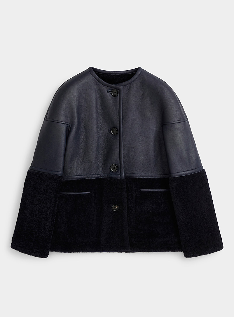 MARNI Dark Blue Reversible mixed media jacket for women