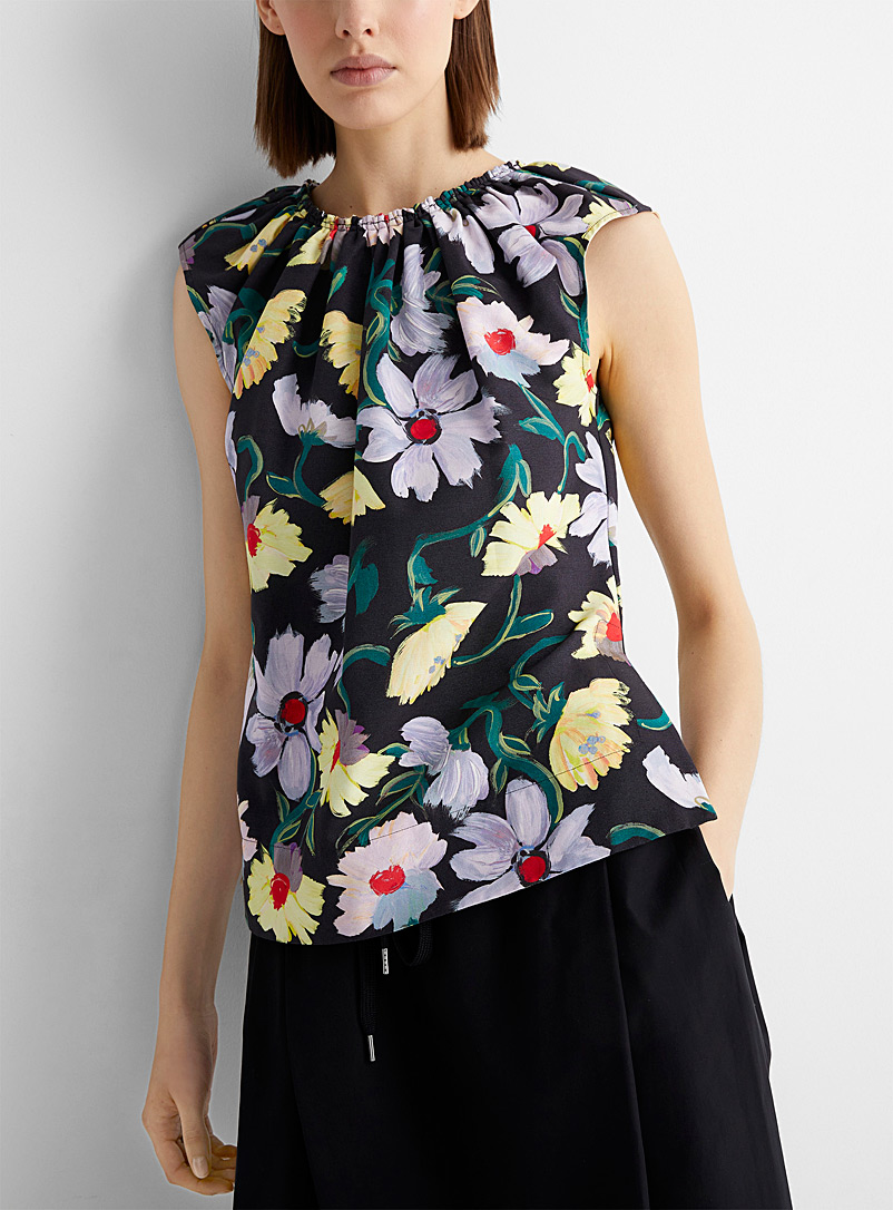 MARNI Patterned Black Magnolia sleeveless top for women